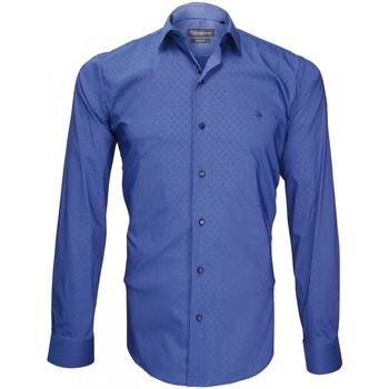 Vêtements Homme Chemises manches longues Emporio Balzani chemise en popeline tiberio bleu Bleu