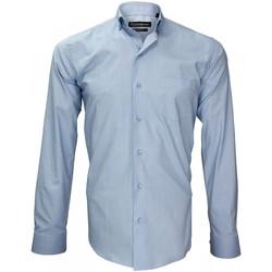 Vêtements Homme Chemises manches longues Emporio Balzani chemise tissu pinpoint prestige bleu Bleu