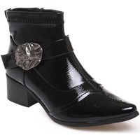 Chaussures Femme Bottines La Modeuse Bottines bout pointu vernies noires Noir