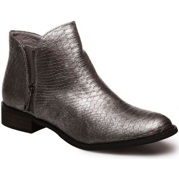 Chaussures Femme Bottines La Modeuse Bottines gris métallisé aspect croco Gris