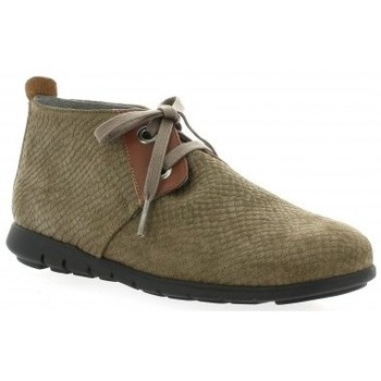 Chaussures Femme Boots Pao Derby cuir python Taupe