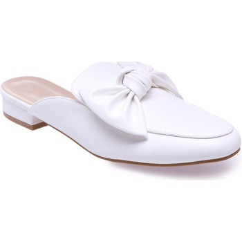 Chaussures Femme Mules La Modeuse Mules blanches avec noeud grande taille Blanc