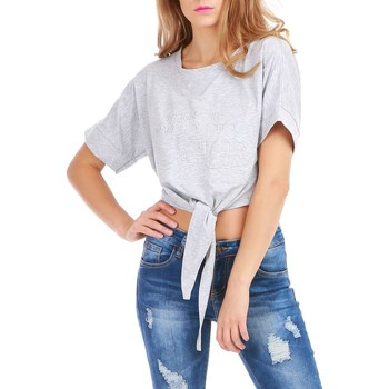 Vêtements Femme Tops / Blouses La Modeuse Crop top gris à inscription et noeud Gris