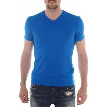 Vêtements Homme T-shirts manches courtes Guess T-Shirt col V  Stretch Plain Bleu Bleu