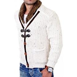 Vêtements Homme Pulls Monsieurmode Gilet à maille pour homme Veste 418 blanc Blanc