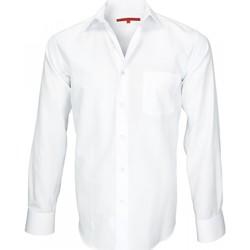 Vêtements Homme Chemises manches longues Andrew Mc Allister chemise tissu armure business blanc Blanc