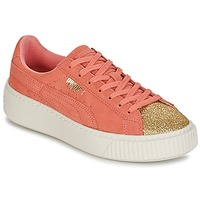 Chaussures Fille Baskets basses Puma SUEDE PLATFORM GLAM JR Orange / Doré
