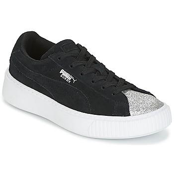 Chaussures Fille Baskets basses Puma SUEDE PLATFORM GLAM PS Argent