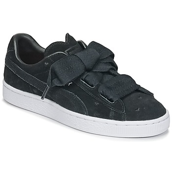 Chaussures Fille Baskets basses Puma SUEDE HEART VALENTINE JR Noir