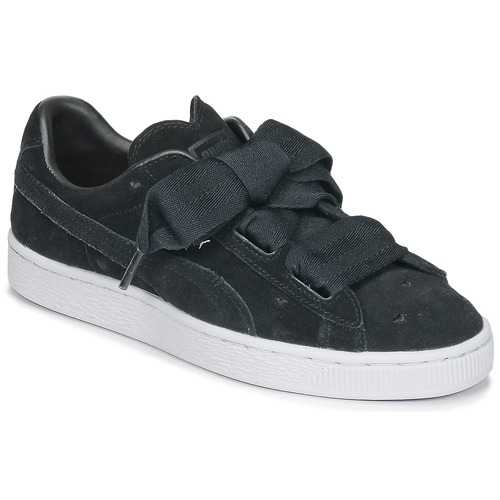 newest 27c24 4e967 Chaussures Fille Baskets basses Puma SUEDE HEART VALENTINE JR Noir
