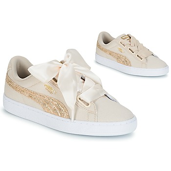 Chaussures Femme Baskets basses Puma BASKET HEART CANVAS W'S Beige
