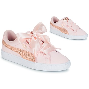 Chaussures Femme Baskets basses Puma BASKET HEART CANVAS W'S Rose