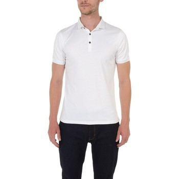 Vêtements Homme Polos manches courtes Too Fashion Polo col fantaisie en liquid coton Blanc BL01