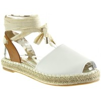 Chaussures Femme Espadrilles Angkorly - Espadrille Sandale ouverte - corde noeud lacets Blanc