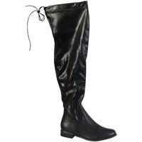 Chaussures Femme Bottes ville The Divine Factory Cuissarde Noir Noir