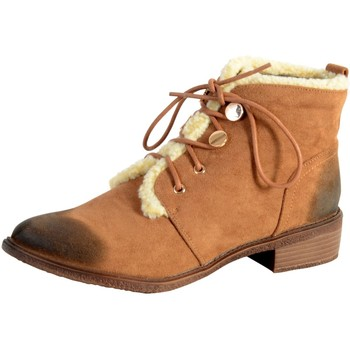 Chaussures Femme Boots The Divine Factory Bottine Lacet Tan Marron