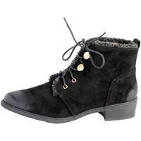 Chaussures Femme Boots The Divine Factory Bottine Lacet Noir Noir