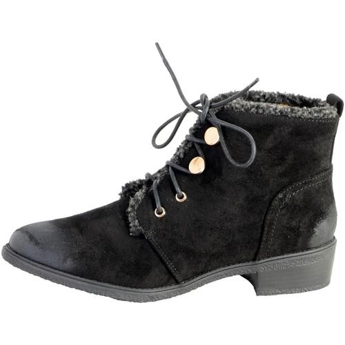 Chaussures Femme Boots The Divine Factory Bottine Lacet Noir Noir