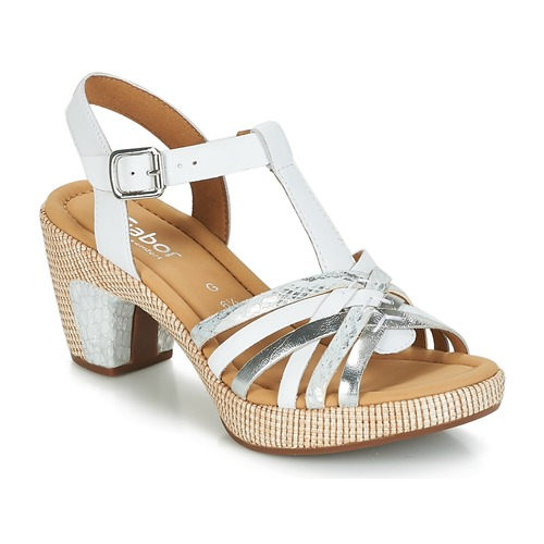 Sandales Mastiar Et Gabor Femme BlancArgent pieds Nu KulJ3F1Tc