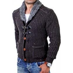 Vêtements Homme Gilets / Cardigans Monsieurmode Cardigan veste pour homme Veste T418 gris fonce Gris
