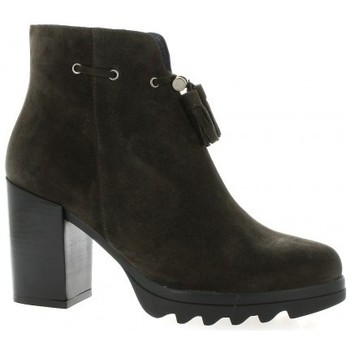 Riva Di Mare Boots cuir velours Anthracite - Chaussures Bottine Femme