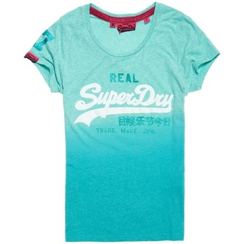 Vêtements Femme T-shirts manches courtes Superdry T-shirt  Vintage Logo Snowy Spearmint Snow Cyan