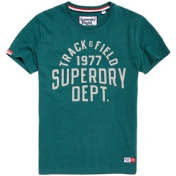 Vêtements Homme T-shirts manches courtes Superdry T-shirt  Trackster Jade Marl Grit Vert