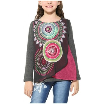 Vêtements Fille T-shirts manches longues Desigual T Shirt Caleidoscopio Gris Oscurro 17WGTKAG Gris