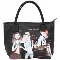 Sacs Femme Cabas / Sacs shopping Texier Sac à main trapèze avec dessins de femme moderne  17918 Fabriqué Noir