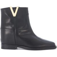Chaussures Femme Bottines Via Roma 15 Tronchetto in pelle liscia nera Noir