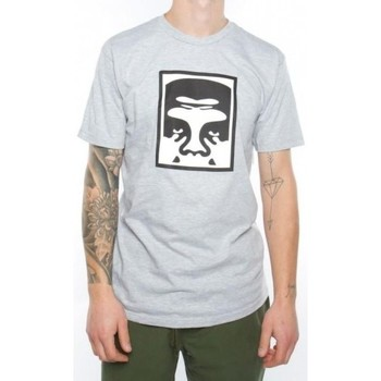 Vêtements Homme T-shirts manches courtes Obey T-Shirt  Half Face Icon Gris Blanc