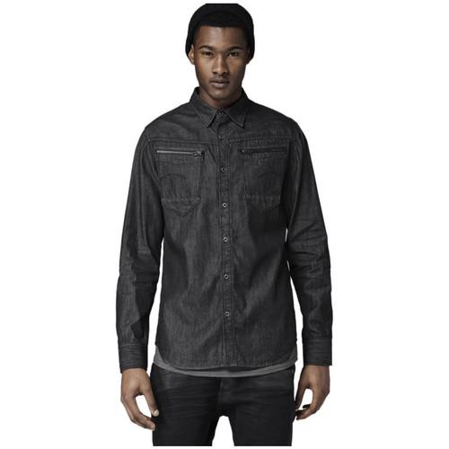 Vêtements Homme Chemises manches longues G-Star Raw Chemise  Arc Zip Black Shatter Denim