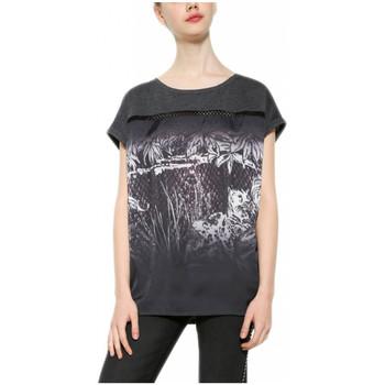 Vêtements Femme T-shirts manches courtes Desigual T Shirt Léopard Dégradé 17WWTK73 35
