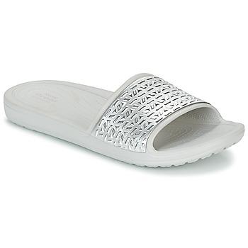 Chaussures Femme Claquettes Crocs SLOANE GRAPHIC ETCHED SLIDE W Blanc / argent