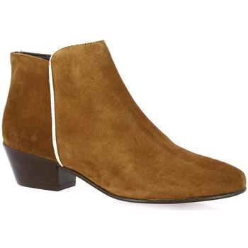 Chaussures Femme Boots Impact Boots cuir velours Cognac