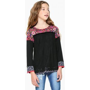 Vêtements Fille Tops / Blouses Desigual T Shirt Daisies Noir 17WGTK81 Noir
