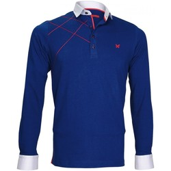 Vêtements Homme Polos manches longues Andrew Mc Allister polo sweat brode gordon bleu Bleu