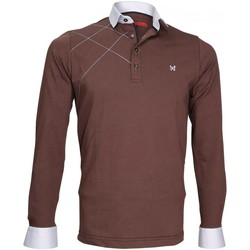 Vêtements Homme Polos manches longues Andrew Mac Allister polo sweat brode gordon marron Marron