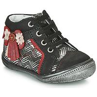 Chaussures Fille Boots Catimini RHUBARBE Noir / Argenté
