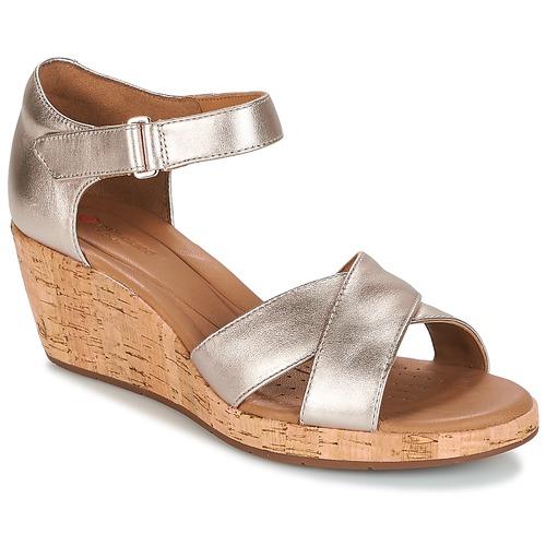 Clarks UN PLAZA CROSS Doré Chaussures Sandale Femme 98