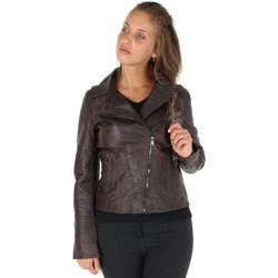 Vêtements Homme Vestes en cuir / synthétiques Giorgio Cuirs Blouson Style Perfecto Giorgio Love Wody en cuir ref_gio40744-ma Marron