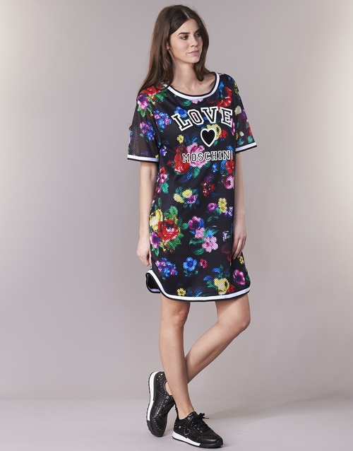 W5A0302  Love Moschino  robes courtes  femme  noir / multicolore