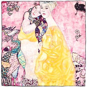 Accessoires textile Femme Echarpes / Etoles / Foulards Silkart Carré de soie  Gustav Klimt Le Amiche - 85x85 cm rose