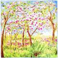 Silkart Carré de soie  Claude Monet Arbres en Fleurs - 85x85 cm