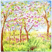 Accessoires textile Femme Echarpes / Etoles / Foulards Silkart Carré de soie  Claude Monet Arbres en Fleurs - 85x85 cm multicolore