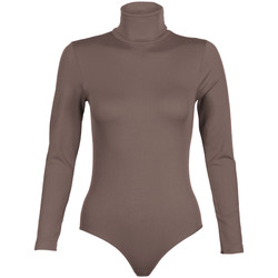 Vêtements Femme Bodys Krisp Body Justaucorps Top T Shirt Moulant Lycra Stretch Col Cheminée Marron
