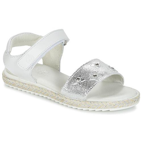 Chaussures Fille Sandales et Nu-pieds Citrouille et Compagnie ILEVANDOK Blanc / Argent
