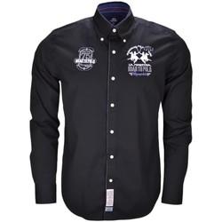 Vêtements Homme Chemises manches longues La Martina Chemise  Memphis noire pour homme Noir