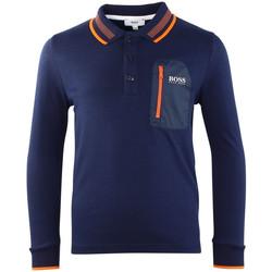 Vêtements Garçon Polos manches longues HUGO Polo Hugo Boss Cadet - Ref. J25B30-849 Bleu
