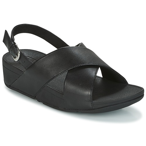 Chaussures Femme Sandales et Nu-pieds FitFlop LULU CROSS BACK-STRAP SANDALS - LEATHER Noir
